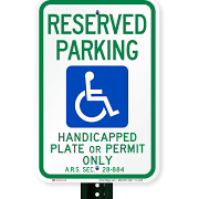 Reserved Parking Handicapped Plate On Permit Only
